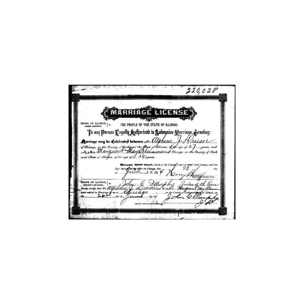 Alphons J. Dreiser, - Margaret May Steinman marriage certificate