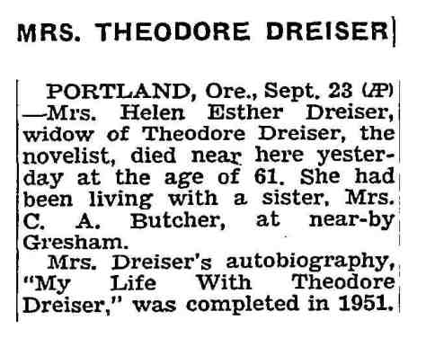 Helen Dreiser obituary,  NY Times (from AP) 9-24-1955