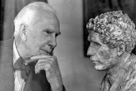 with bust of John Cowper Powys, Hollywood, c. 1942