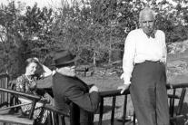 with Harriet Bissell (Dreiser's secretary) and Edgar Lee Masters, Iroki, Mt. Kisco, NY, summer 1938