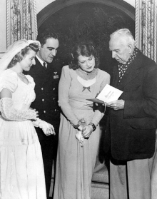 with Helen at wedding of Lt. George B. Smith and Dorothy-Tucker, Glendale, CA, December 21, 1945