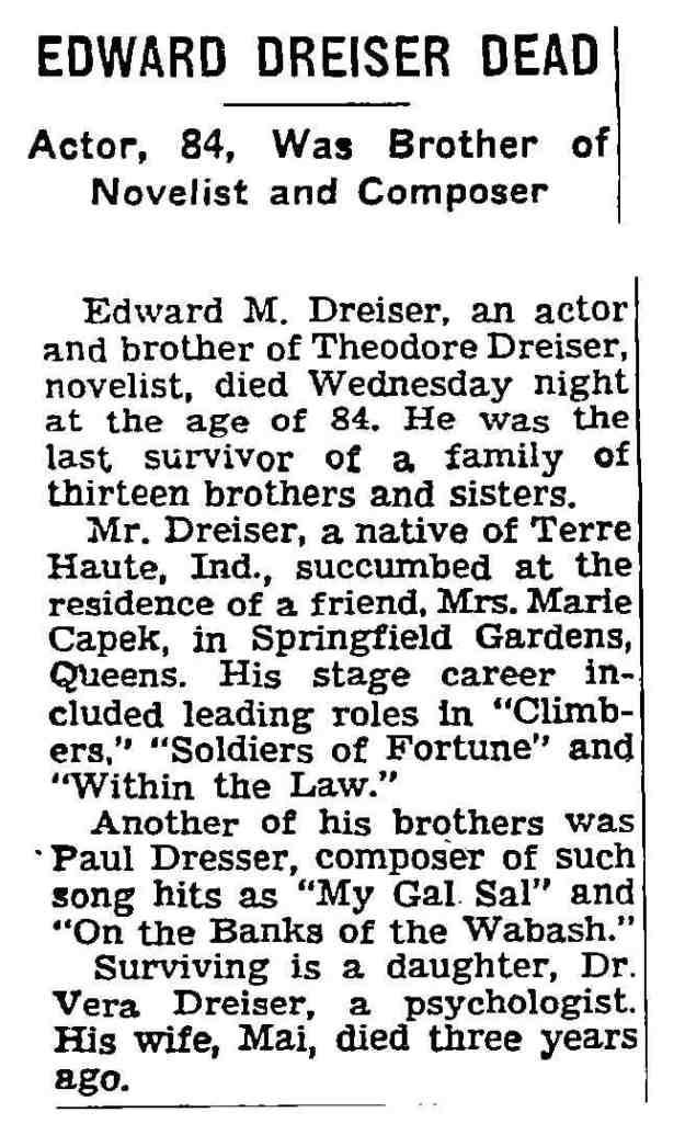 Edward Dreiser obituary, NY Times 1-31-1958