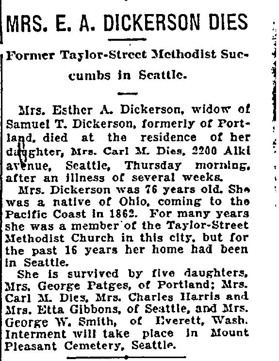 Esther Dickerson obit, Sunday Oregonian (Portland) 8-27-1916, pg. 14