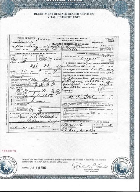 Frank S. Gillette, death certificate