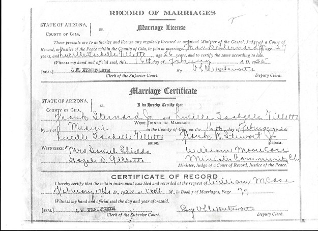 Frank Sternard Jr. Lucille I. Gillette marriage certificate