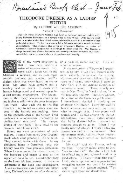 'Theodore Dreiser as a Ladies' Editor', imageedit