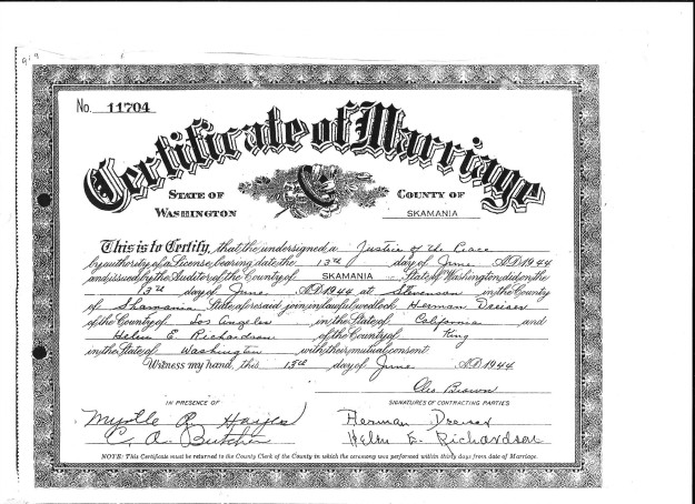 Theodore Dreiser - Helen Richardson marriage license