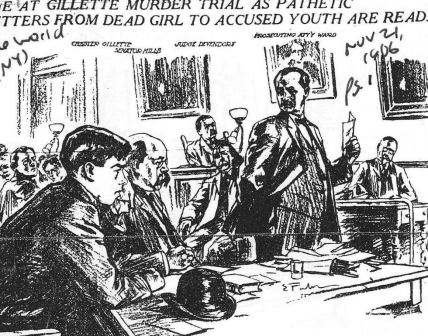 District Attorney George Ward reads Grace Brown's letters in court as Gillette and his attorney Albert M. Mills look on - The World (NY) 11-21-1906
