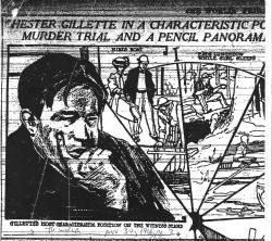 Gillette in a characteristic pose at trial - The World (NY) 11-30-1906