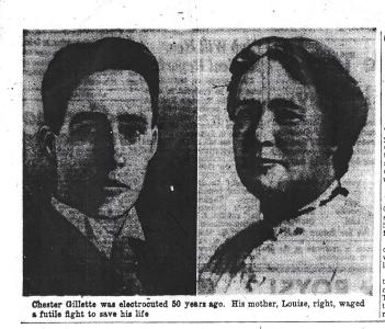 Chester Gillette; his mother, Louisa Gillette - Syracuse Herald-American 3-30-1958