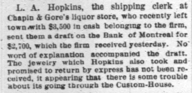item re Hopkins (returned money) - Chi Tribune 2-19-1886, pg. 8.jpg