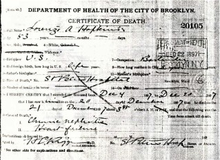 death certificate, Lorenzo A. Hopkins