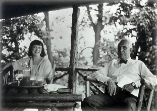 Helen and Dreiser on patio at Iroki, Dreiser's Westchester County, NY estate; courtesy Rare Book and Manuscript Library, University of Pennsylvania