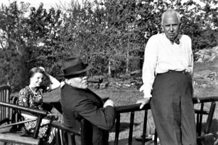 Dreiser with his secretary-research assistant Harriet Bissell and the poet Edgar Lee Masters on his Westchester County NY estate,, Iroki, summer 1938