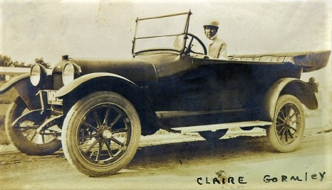 Claire Dreiser Gormley (1868-1918), Dreiser's sister (wife of Henry V. Gormley) in touring car; courtesy Rare Book and Manuscript Library, University of Pennsylvania