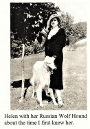 Helen Richardson with her wolfhound Nick in mid-1930's; photo from Harold J. Dies collection, courtesy Joann Crouch