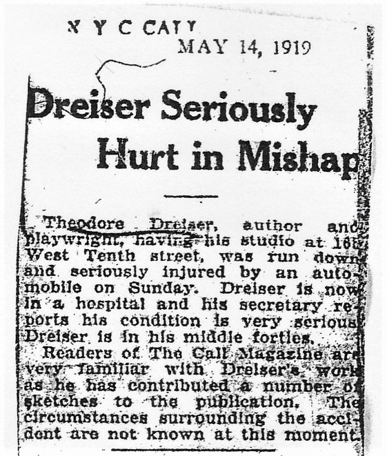 'Dreiser Seriously Hurt in Mishap' 5-14-1919