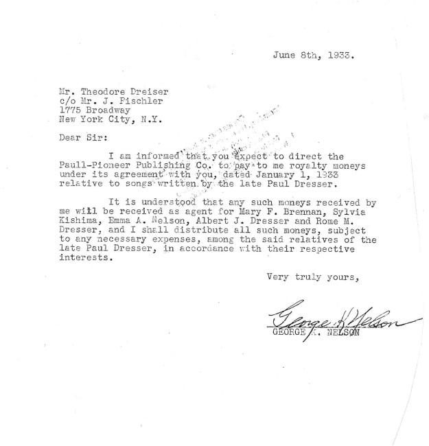 George K. Nelson to Dreiser 6-8-1933