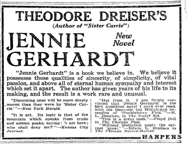 advertisement for Jennie Gerhardt- NY Times 11-21-1911